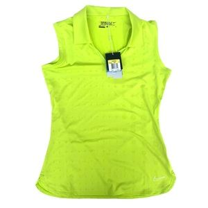 NIKE golf dri fit top neon green size S
